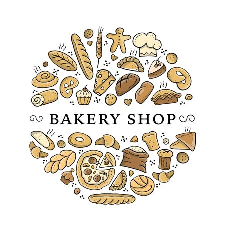 Bakery shop background, sketch for your design