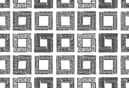 Abstract ethnic frames, seamless pattern for your design Banque d'images - 129088109