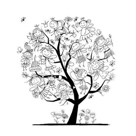 Tree with cute little fairies, coloring page for your design