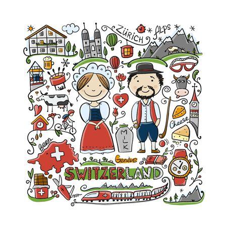 Reise in die Schweiz. Grußkarte für Ihr Design Vektorgrafik