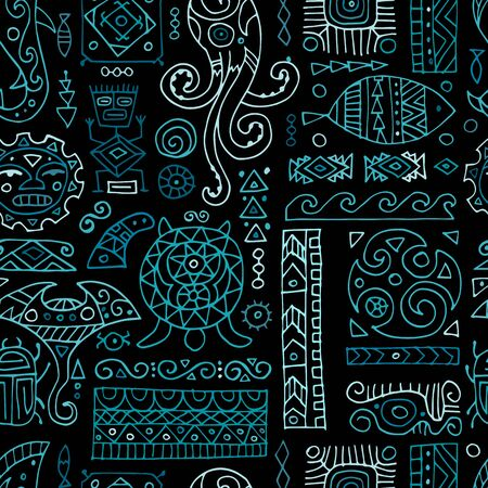 Ethnic handmade ornament for your design. Polynesian style, seamless pattern