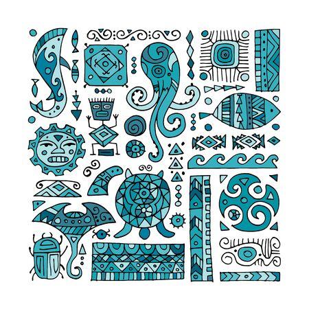 Adorno artesanal étnico para su diseño. Estilo polinesio