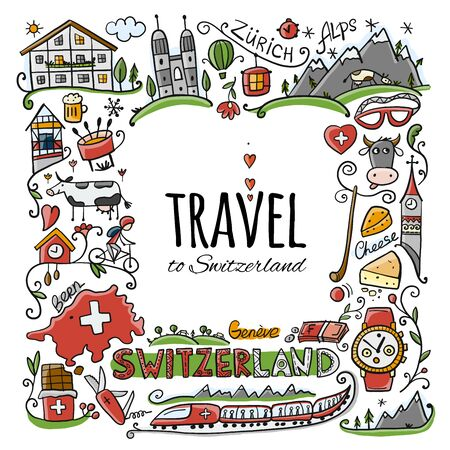 Travel to Switzerland. Greeting card for your design Çizim