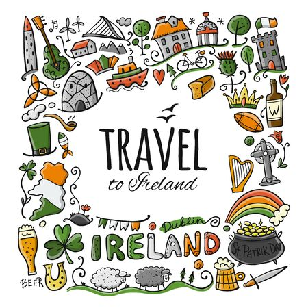 Travel to Ireland. Greeting card for your design 向量圖像