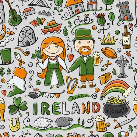 Travel to Ireland. Seamless pattern for your design