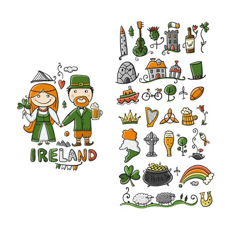 Travel to Ireland. Icons set for your design