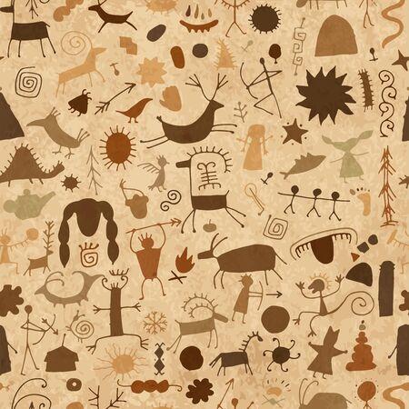 Fondo de pinturas rupestres, patrones sin fisuras para su diseño Ilustración de vector