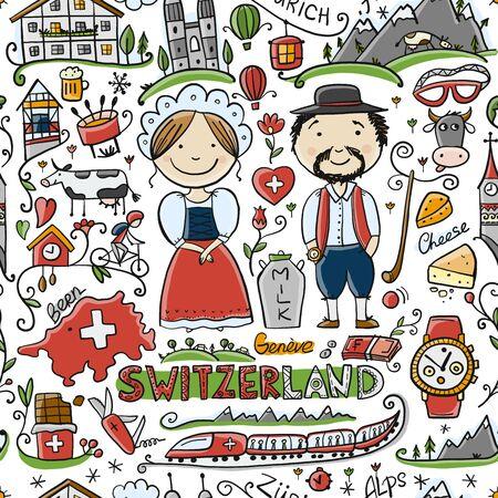 Reise in die Schweiz. Nahtloses Muster für Ihr Design