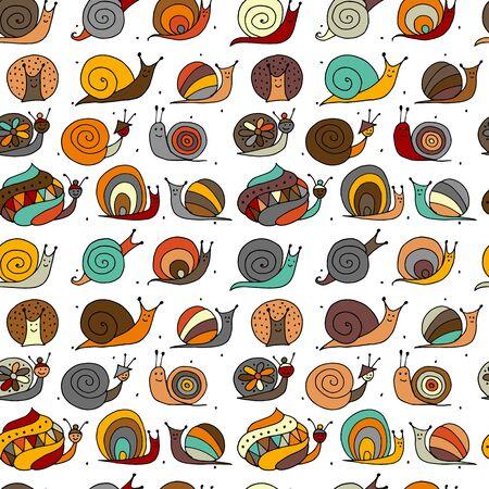 Funny snails, seamless pattern for your design Reklamní fotografie - 130398268