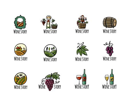 Winery icons, background for your design Çizim