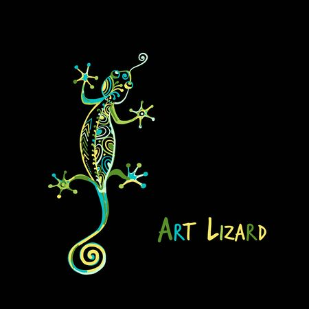 Ornate lizard green isolated on black for your design Banque d'images - 130398286