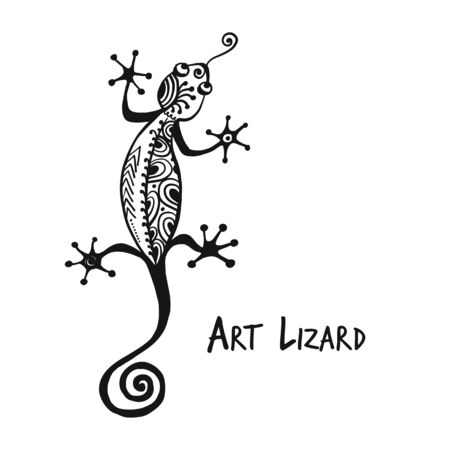 Ornate lizard black isolated on white for your design
