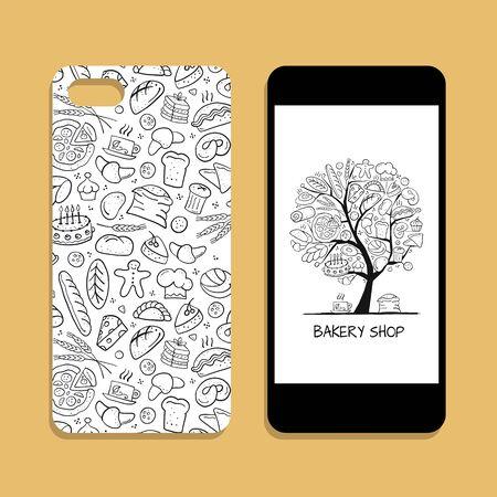 Mobile phone cover design, bakery tree Çizim