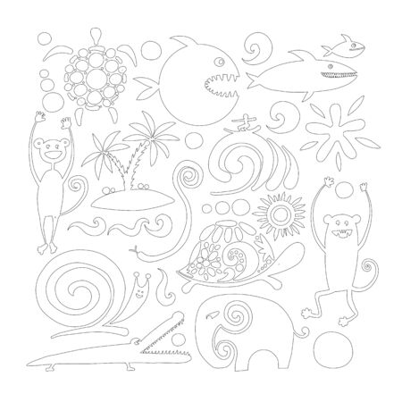 Funny animals, coloring page for your design