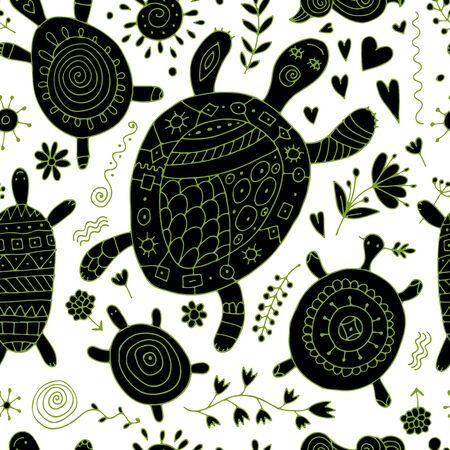 Funny family, turtle with chidren. Seamless pattern for your design 向量圖像
