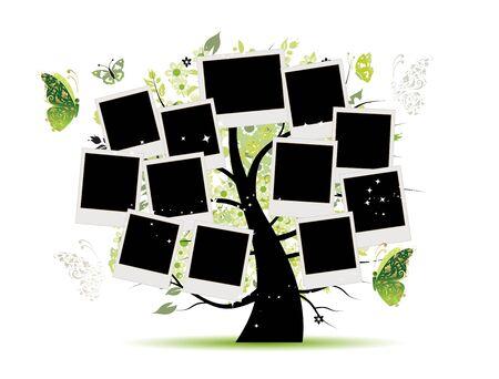 Albero genealogico con cornici per foto per il tuo design Vettoriali