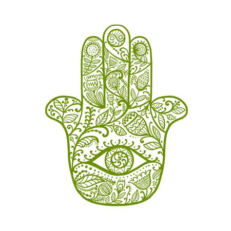 Indian ornate hand Hamsa, symbol. Ilustrace