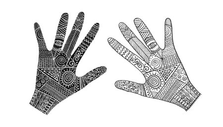 Ornate hands, boho style. Sketch for your design