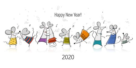 Funny mouses party, symbol of 2020 year. Banner for your design  イラスト・ベクター素材