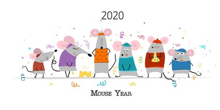 Funny mouses party, symbol of 2020 year. Banner for your design 矢量图像