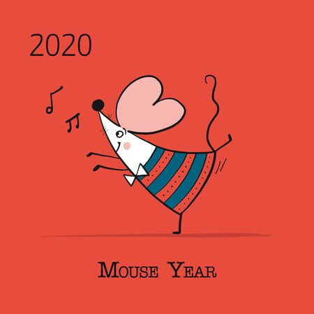 Funny mouse, symbol of 2020 year. Banner for your design Foto de archivo - 130398557