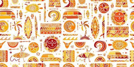 Surf de patrones sin fisuras. Elementos tribales para su diseño Ilustración de vector