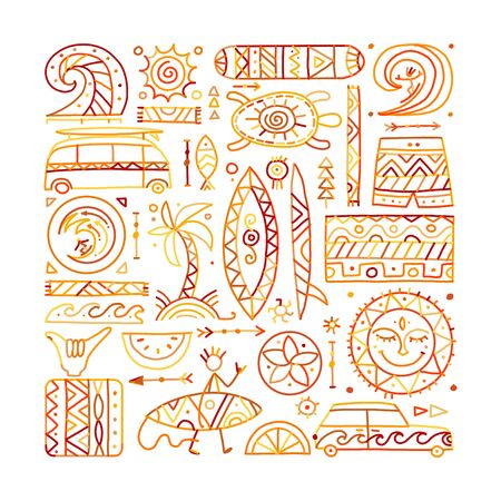 Surfing background. Tribal elements for your design  イラスト・ベクター素材