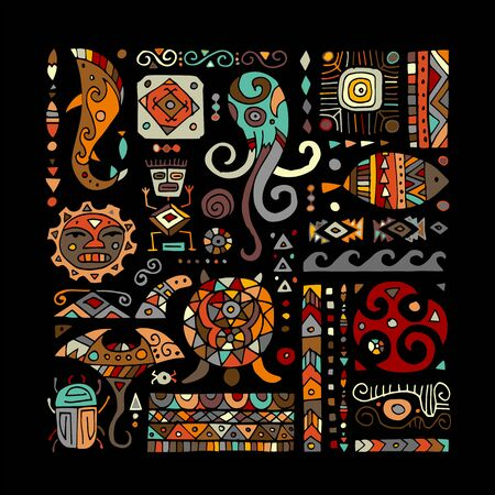 Ethnic handmade ornament for your design. Polynesian style Иллюстрация