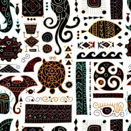 Ethnic handmade ornament for your design. Polynesian style, seamless pattern. Vector illustration