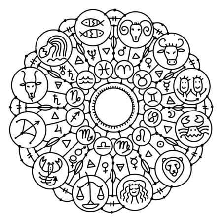 Zodiacal circle with astrology signs for your design Illustration