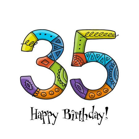 35th anniversary celebration. Greeting card template