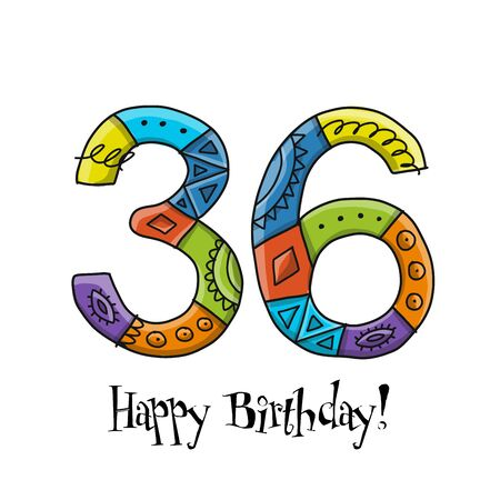 36th anniversary celebration. Greeting card template