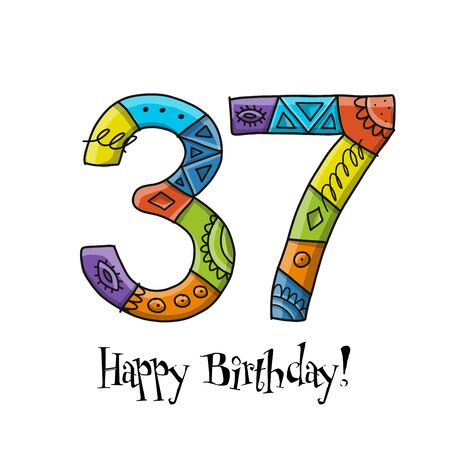 37th anniversary celebration. Greeting card template