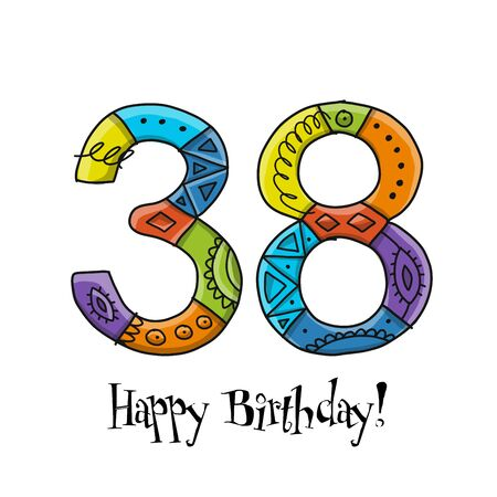 38th anniversary celebration. Greeting card template