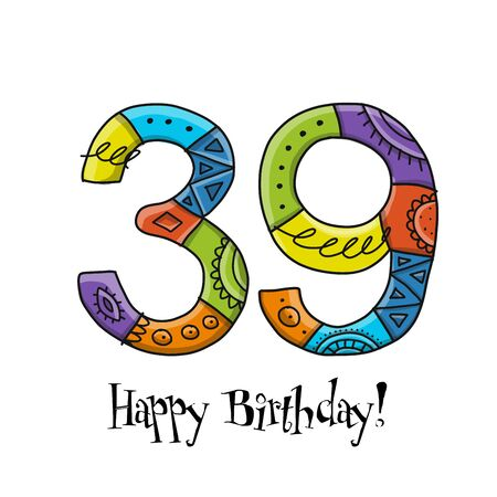 39th anniversary celebration. Greeting card template