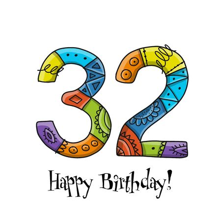 32th anniversary celebration. Greeting card template