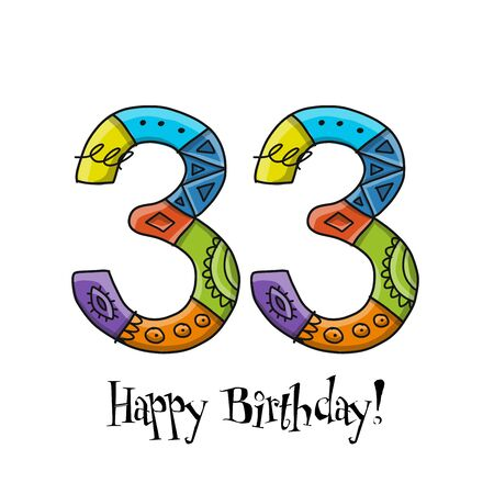 33th anniversary celebration. Greeting card template