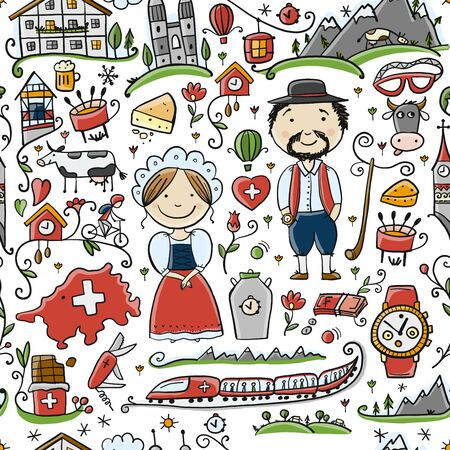 Travel to Switzerland. Seamless pattern for your design