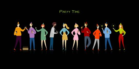 Student party with friends. Funny people characters Ilustração