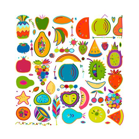 Fruits collection, creative background for your design  イラスト・ベクター素材