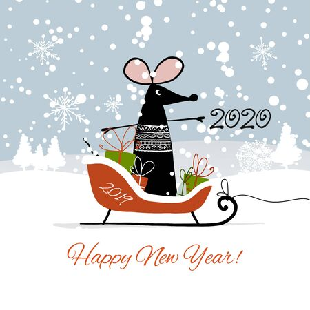 Christmas card with funny mouse in winter forest, symbol of 2020 year