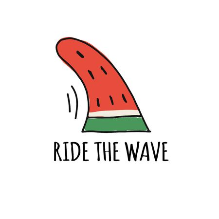 Ride the wave, funny watermelon fin Ilustracja