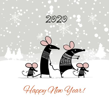 Christmas card with funny mouse in winter forest, symbol of 2020 year Stockfoto - 132090092