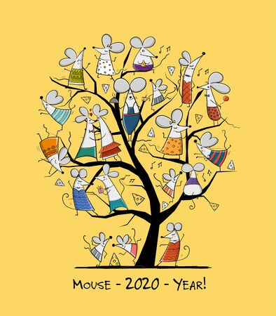 Funny mouses tree, symbol of 2020 year. Greeting card for your design Illustration