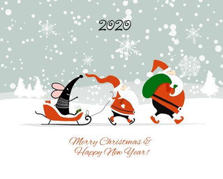 Christmas card with funny mouse and Santa in winter forest, symbol of 2020 year Stockfoto - 132090096