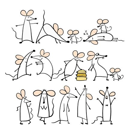 Funny white mouse family, symbol of 2020 year. Banner for your design