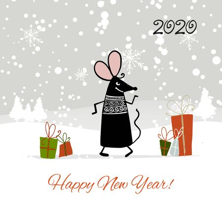 Christmas card with funny mouse in winter forest, symbol of 2020 year Stockfoto - 132090099