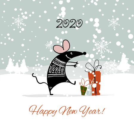 Christmas card with funny mouse in winter forest, symbol of 2020 year Stockfoto - 132090100