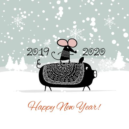 Christmas card with funny mouse, symbol of 2020 year and pig, symbol of 2019 Stockfoto - 132090105