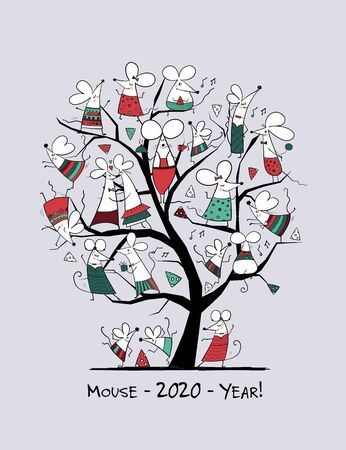 Funny mouses tree, symbol of 2020 year. Greeting card for your design Stock Illustratie